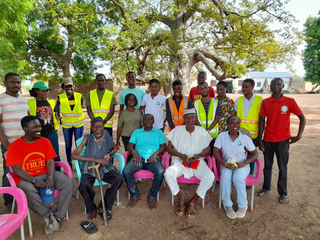 EWB-KNUST travel team in a group picture with George and representatives in Ullo Traditional Area during our June 2021 trip to Ullo.